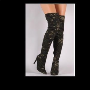 Shoes - Thigh High Camo Fish Net Boots